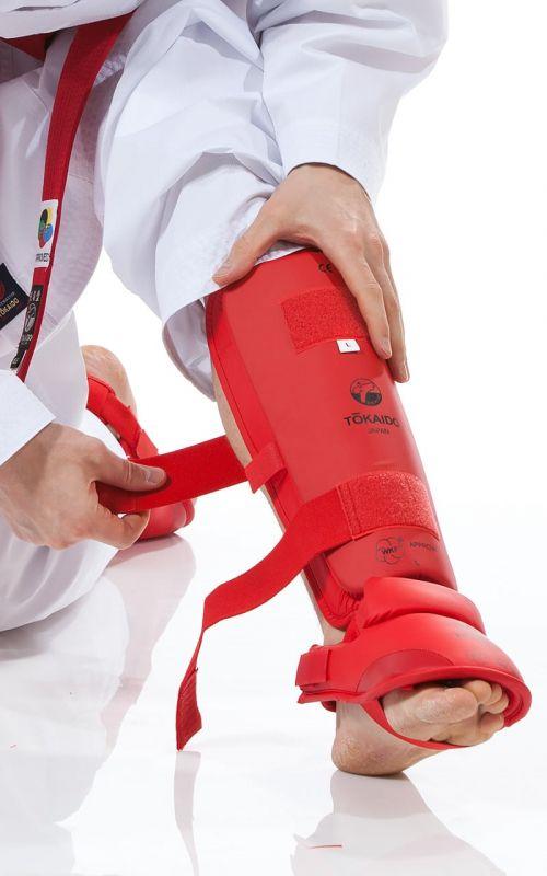 Karate Schienbein-/Fußschutz, TOKAIDO, WKF, rot