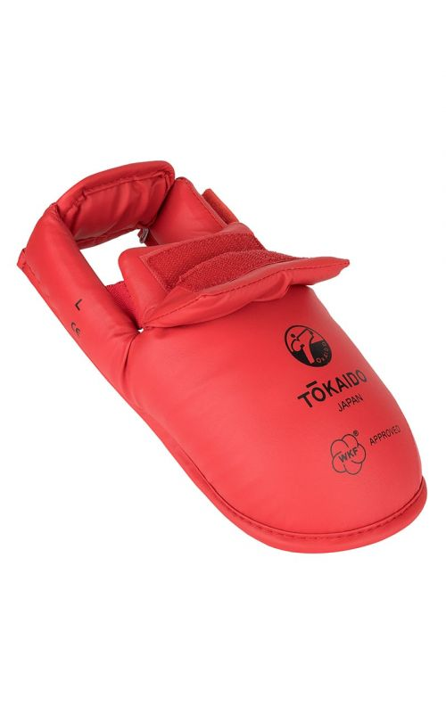 Karate Foot Guard, TOKAIDO, WKF, with Velcro, red