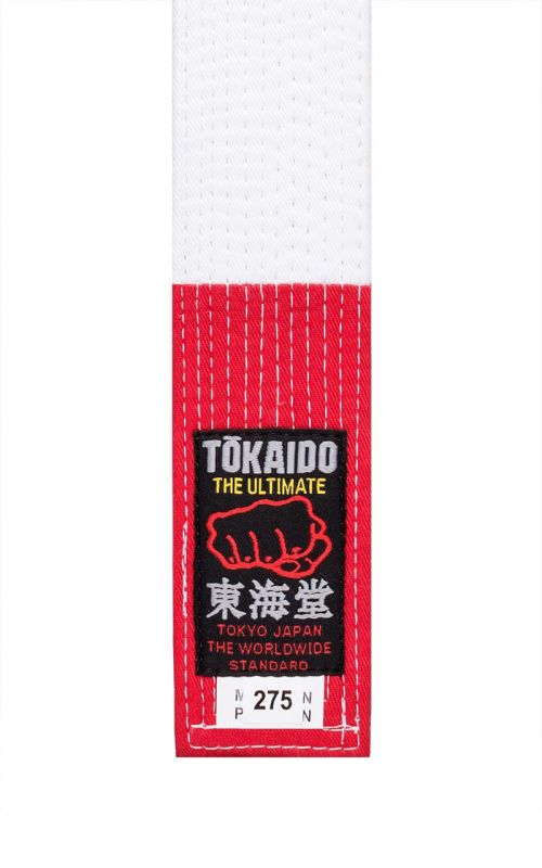 Striped Karate Belt, TOKAIDO, red / white