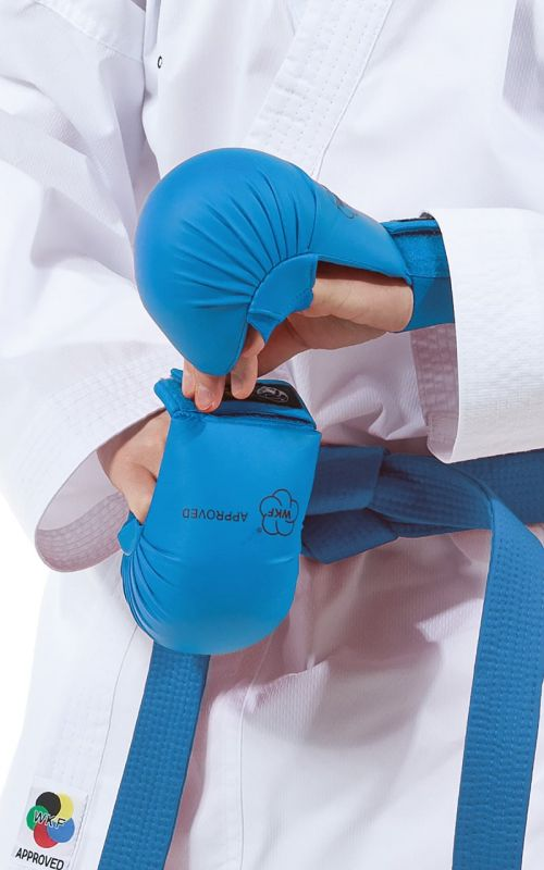 Karate Gloves, TOKAIDO, WKF, thumb protection, blue