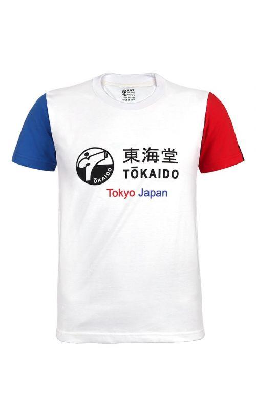 Men's T-Shirt. TOKAIDO Aka / Ao, white
