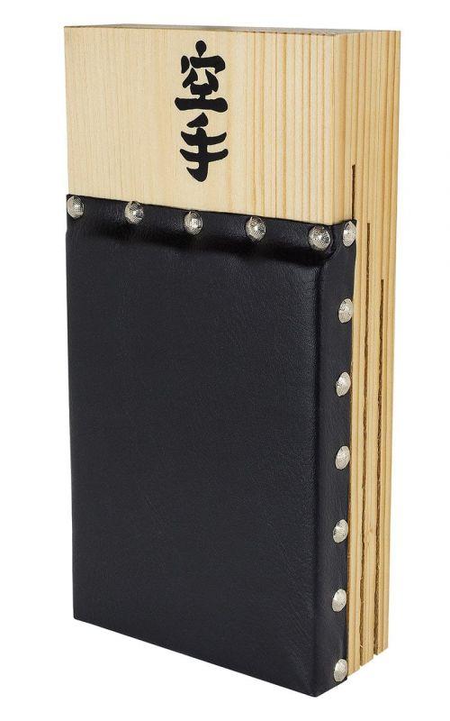 Karate Makiwara, Holz, Leder-Bezug, groß